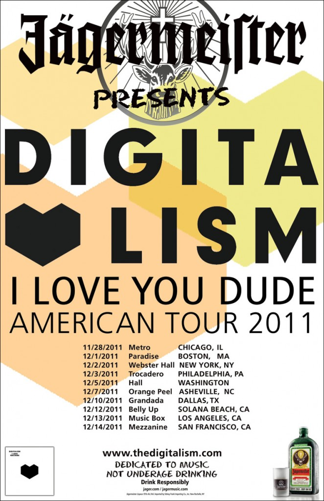 Digitalism I Love You Dude North American Tour poster